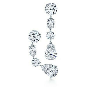 3.02 cts of Pear, Round & Mq cut Diamonds Chandelier Platinum Earrings GIA F VS2