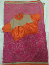 Indian Sari Saree Orange Pink L Silk Cotton Blend Preowned 2 Pc Bust Size 36