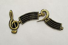 """#3042 4-1/4"""" Gold,Black Staff,Music Note Embroidery Iron On Applique Patch"""