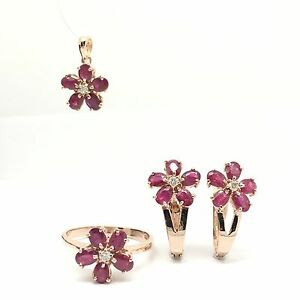 14k Solid Rose Gold Flower Rubies And Diamonds Earrings Ring And Pendant Set
