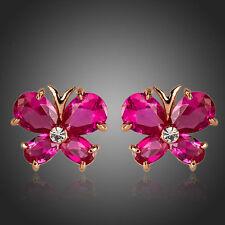 De lujo de moda de Estilo Brillante Rosa Roja Cubic Zircon Mariposa Chica Aretes