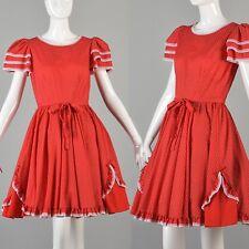 S Vintage 1980s 80s Square Dance Mini Dress Short Sleeve Full Skirt Country Red