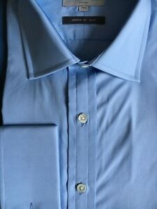 "Harvie & Hudson 17""/33.5"" 2-Fold Cotton SLIM FIT Blue Poplin Double Cuff Shirt"