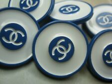 💋💋💋💋💋 Chanel 6 blue off white metal buttons  20mm lot of 6  CC