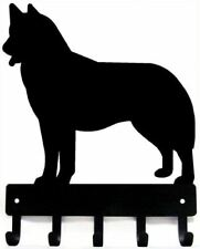 Siberian Husky Key Rack/ Dog Leash Hanger with 5 hooks - Small 6in -Made in USA