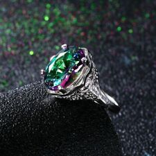High Quality Genuine Rainbow Fire Mystic Topaz Ring Jewelry Best Gift For Woman