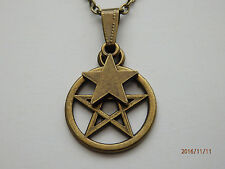 Antique Bronze Pentagram Star Pendant Charm on Bronze Tone Necklace Chain