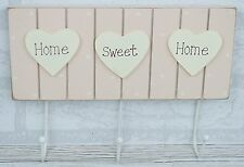 Wooden Wall Hooks Shabby Chic Pink With Cream Hearts And 3 Metal Hooks