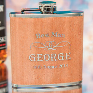 Personalised - 6oz Hip Flask Dark Wood  Stag Do!! Wedding Best Man, Any Message!