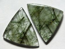 31.25 Ct Natural Green Rutilated Quartz(28mm X 20mm each)Cabochon Match Pair