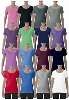 Gildan Ladies Deep Scoop Plain Crew Neck T-Shirt Tee Shirt 100% Cotton