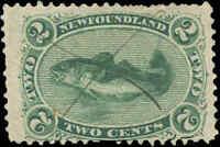Used Canada Newfoundland 1870 F 2c Scott #24 Codfish Stamp