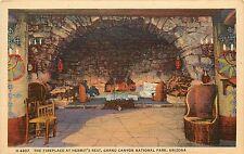 Fred Harvey Linen Postcard; Fireplace Hermit's Rest Grand Canyon AZ Unposted