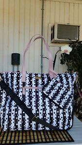LUV BETSEY JOHNSON LBJAYCEE  Black/White Overnighter Tote Bag W/ Wristlet NWT$98