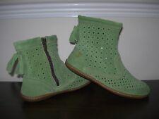 EL NATURALISTA WOMEN'S BOOTS FLATS GREEN PERFORATED SUEDE EU 37 / UK 4 SLIM FIT