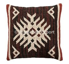Hand Woven Kilim Cushion Cover 18X18 Jute Throw Pillow Sham Indian Pillow Case