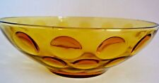 "Lovely Vintage coin press Amber Glass Centerpiece bowl 9"" Diameter"