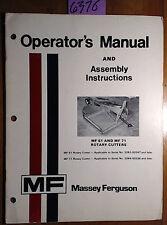 Massey Ferguson MF 61 MF 71 Rotary Cutter Owner Operator & Assembly Manual 1/78