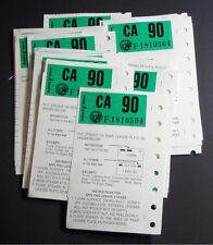 Lot of FIVE (5) - 1990 CALIFORNIA  License Plate STICKERS  - NOS Unused - CA