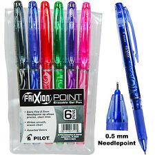 Pilot FriXion Point 0.5 mm Erasable Gel Pens, 6 Color Set In Plastic Pouch