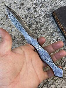 Custom Handmade HAND FORGED DAMASCUS STEEL Hunting Dagger Boot KNIFE Full Tang