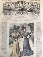 MODE ILLUSTREE SEWING PATTERN May 14,1899 ROBE ANGLAISE, COSTUME DE VOYAGE