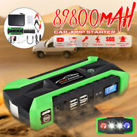 4 USB 89800mAh Car Jump Starter Pack Booster Charger Battery Power Bank LED 12V