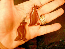 earrings pierced dangling penguin bird  bakelite chandelier carved