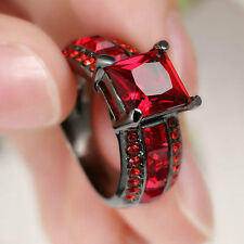 Princess Cut red ruby Wedding Engagement Band Ring Black Rhodium Plated Size 7