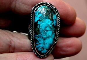 Large Navajo Kevin Yazzie Sterling Silver & Turquoise Stone TUFA CAST Ring