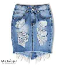 Ladies Ripped High-waisted Distressed Denim Mini Skirt w Frayed Hem 6 8 10 12 14