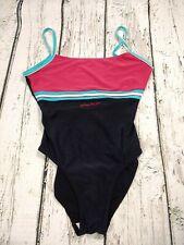 Ladies Speedo Pink Blue Panel Swimsuit Size 36 UK 14