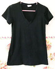 ALLOY Simple Cotton Solid Black T Shirt Knit Top Junior M V Neck Women Ladies