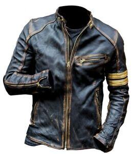 Men's Leather Jacket Biker Cafe Racer Sheepskin 100% Genuine Leather
