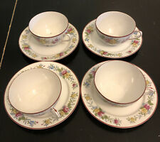 Vintage Nippon Coffee Tea Cups and Saucers Flowers Hand Painted Set of 4