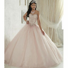 Pink Ball Gown Quinceanera Dresses For 15 Years Crystal Cheap Quinceanera Gowns