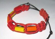Simple, colourful summery handwoven bracelet with WOOD beads RED YELLOW & ORANGE