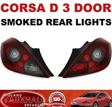 VAUXHALL CORSA D 3 DOOR SMOKED TINTED PAIR OF REAR LIGHTS SXI VXR SRI
