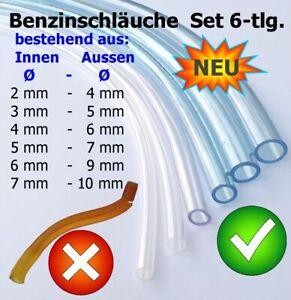 Benzinschlauch Set 6-tlg, Neu,PVC klar, best.aus Ø innen 2,3,4,5,6,7mm, (je20cm)
