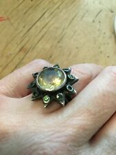 Silver oxidised Star Ring large citrine surrounded with peridot stones size L
