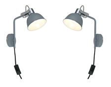 2 X Contemporary Grey Bedside light Plug In Wall Adjustable Directional Shade