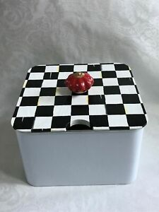 Mackenzie Childs Courtly Check WP Magnet+Hand Painted Pantry Storage Bin w/Knob