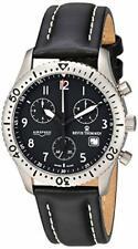 Revue Thommen Airspeed Classic Pilot Titanium Black Leather Men Watch 16001-9597