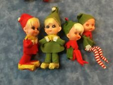 4 Vintage PIXIE ELF ORNAMENT Green/Red Outfit Knee Hugger