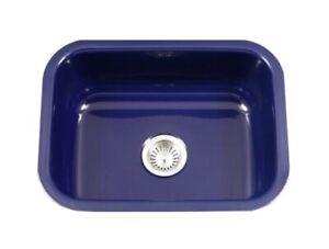 "Houzer PCS-2500 Porcela 23-3/16"" Single Basin Undermount Porcelain - Navy blue"