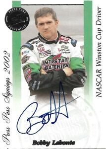 2002 PRESS PASS AUTHENTICS Bobby Labonte Card Autographed NASCAR HOF