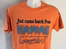 Vtg 1978 Hawaii Souvenir T-Shirt Orange M/L 70s Vacation Hanes 100% Cotton