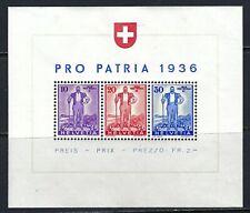 B&D: 1936 Switzerland Scott B80 Pro Patria souvenir sheet--MNH