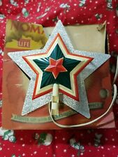 Vintage 1950 Noma Red, White, and Green Hard Plastic Christmas Tree Topper Lite