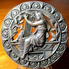 """New listing Antique Lg French Button """"Egyptian Girl Plays Harp"""" Vintage Silver Pierced Metal"""